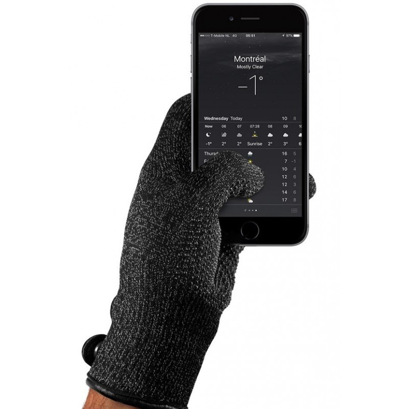Mujjo Single-Layered Touchscreen gloves small zwart