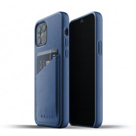 Mujjo Leather Wallet Case iPhone 12 / iPhone 12 Pro blauw
