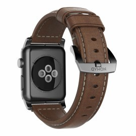 Nomad traditioneel leren bandje Apple Watch 42 / 44 mm bruin / zwart