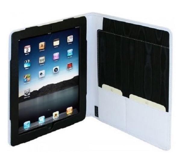Van der spek Luxe Lederen Folio Case met Schrijfblok iPad 2 / 3 / 4 wit