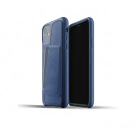 Mujjo Leather Wallet Case iPhone 11 blauw