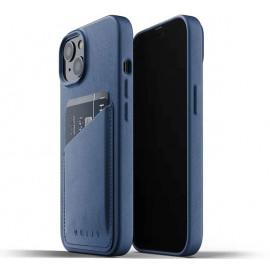 Mujjo Leather Wallet case iPhone 13 Mini blue