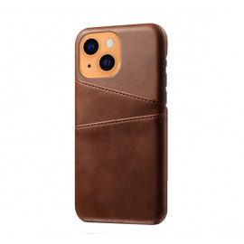 Casecentive Leather Wallet Back case iPhone 13 brown