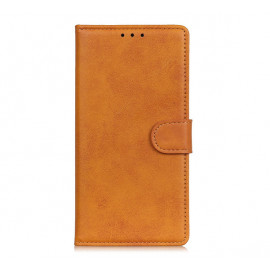 Casecentive Leather Wallet case with closure iPhone 13 tan