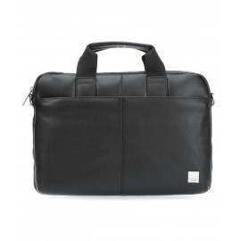 Knomo StanFord Leather slim laptop carrier 13 Inch zwart