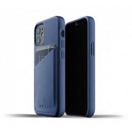 Mujjo Leather Wallet Case iPhone 12 blauw