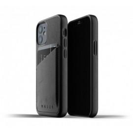Mujjo Leather Wallet Case iPhone 12 zwart