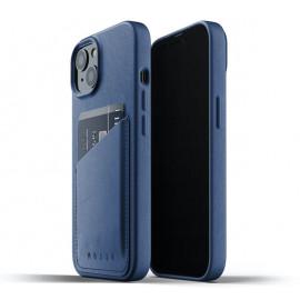 Mujjo Leather Wallet Case iPhone 13 blue